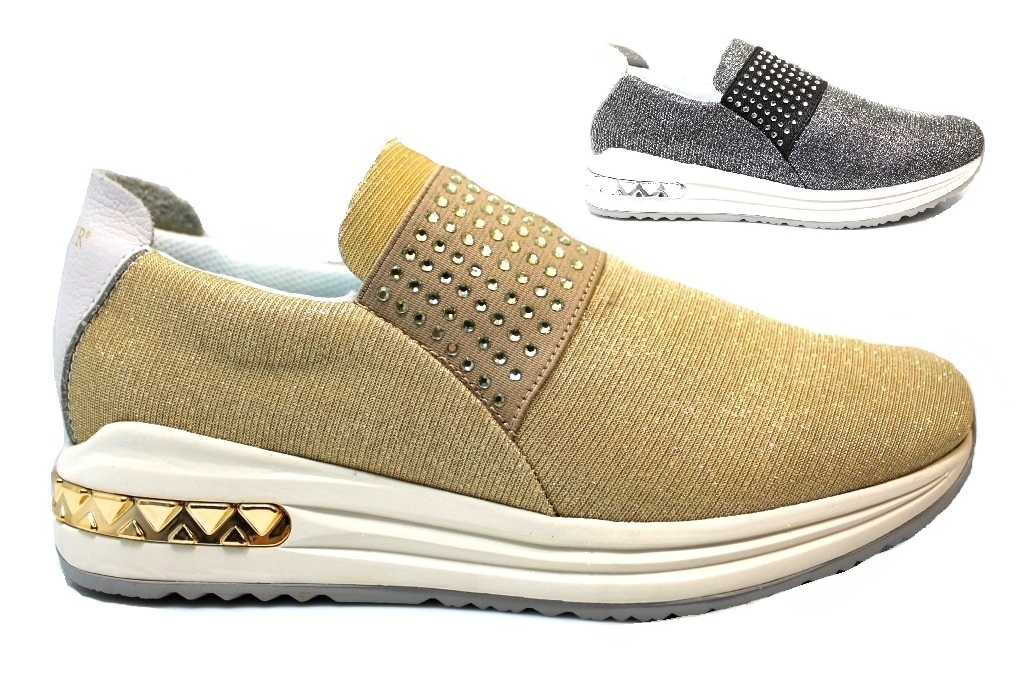 CAFeNOIR MDA945 Silver and Gold Sneakers Shoes Woman Comfortable Fashiom