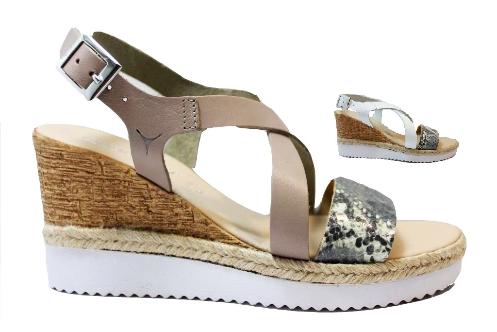 Cinzia Soft IG9738 White and Taupe Sandals Shoes ladies Comfortable Footwear