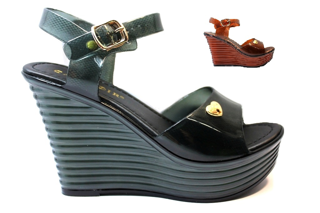 CAFeNOIR MHE009 Black and Brown Sandals with Wedge heel Women Shoes with Plateau