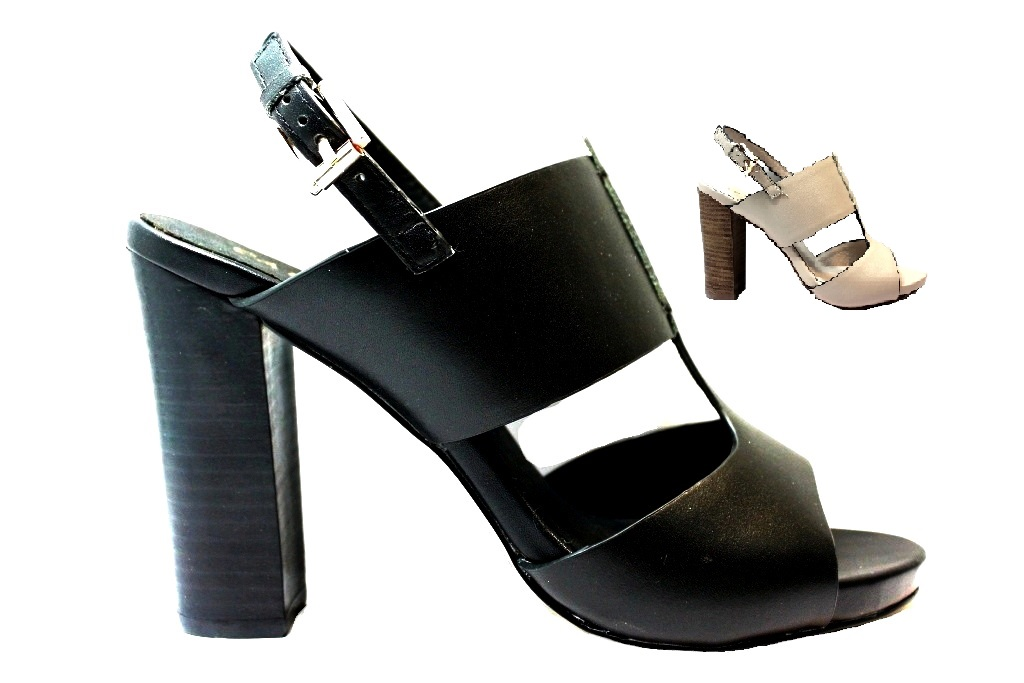 CAFeNOIR MLA156 Black and Beige Sandals High Heel Shoes with Plateau