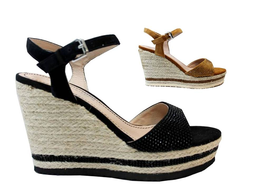 CAFeNOIR MHG933 Black Leather Wedge Sandals Shoes with Plateau