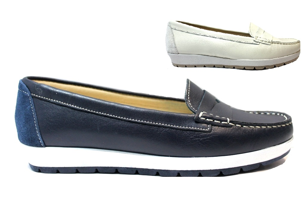 Cinzia Soft 3860 Blue and White Loafers, Women's Shoes, Comfortable
