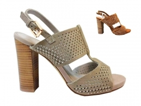 CAFeNOIR MLA656 Leather and Sand Sandals, High Heel Shoes with Plateau