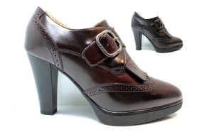 Black garden A719121D Bordeaux and Black lace-up shoes Ankle Woman Plateau