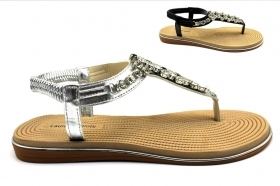 Laura Biagiotti A770 Black and Silver Sandals flip Flops Women's Footwear