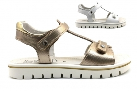 Nero Giardini Junior P830490F White and Bronze Sandals Low Shoes Women Girl