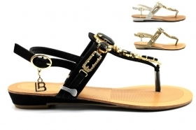 Laura Biagiotti 602 Black White and Gold Sandals flip Flops Women's Footwear