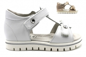 Nero Giardini Junior P820490F White and Bronze Sandals Low Girl from 20 to 26