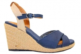 Pepe Jeans London PLS90238 Blue Wedge Sandals Woman with Plateau
