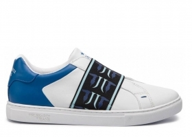 Trussardi Jeans 77A00141 White Blue Sneakers Man Shoe for a Sporty Casual