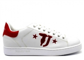 Trussardi Jeans 77A00173 White Red Sneakers Man Shoe for a Sporty Casual