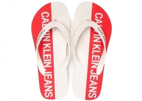 Calvin Klein Jeans ERROL JELLY S0604 White Red flip Flops Man the Sea Shower