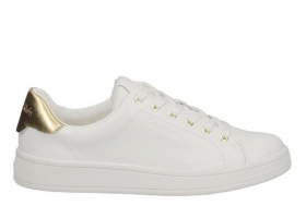 Calvin Klein Jeans SOLANGE SOFT NAPPA N12071 Bianco Oro Sneakers Donna Casual
