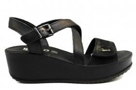 IGI and CO 3173555 Black Shoes Comfortable Wedge Sandals Women's