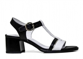 Black garden P908200D White Black Shoes Low Heel Sandals