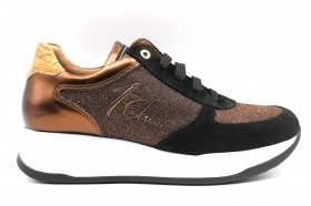 Alviero Martini 1a Classe 0428 0218 Bronze Sneakers Shoes Women's Comfortable