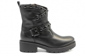 Black garden A909824D Black Biker Boots Over the Ankle Women