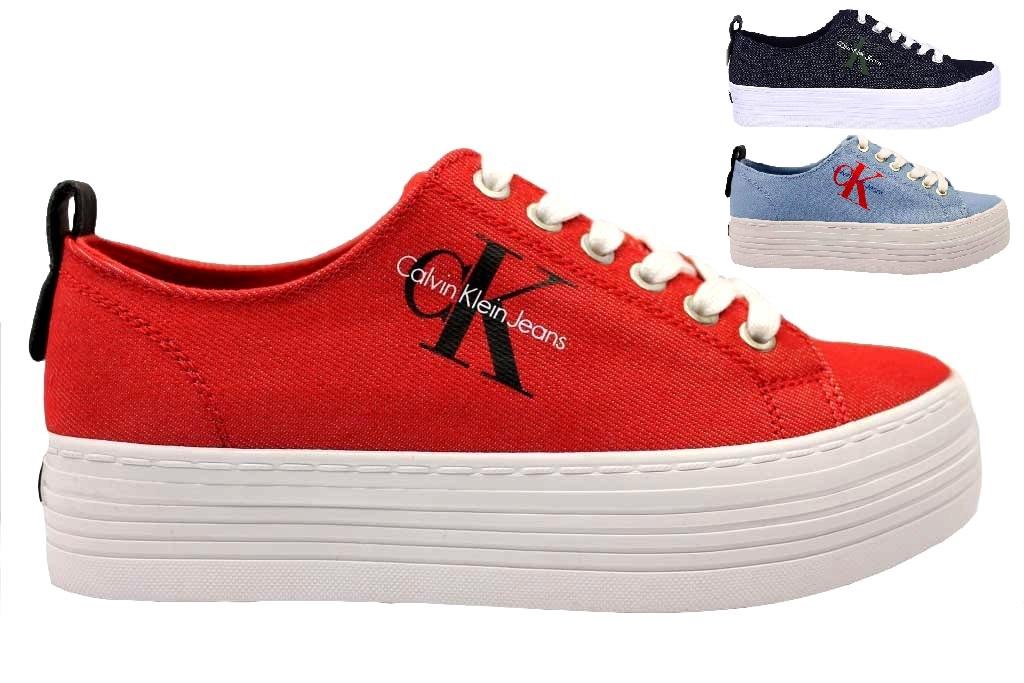 Calvin Klein Jeans ZOLAH DENIM RE9731 Rosso Celeste e Jeans Scarpa Casual e5c84a68de2
