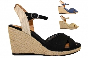 Pepe Jeans London PLS90238 Beige Blue and Black Wedge Sandals Woman with Plateau
